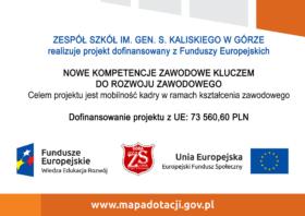 """Tablica informacyjna o realizacji projektu """"Nowe kompetencje zawodowe kluczem do rozwoju zawodowego""""."""