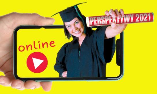 """Grafika promująca salon edukacyjny """"Perspektywy 2021 online"""""""