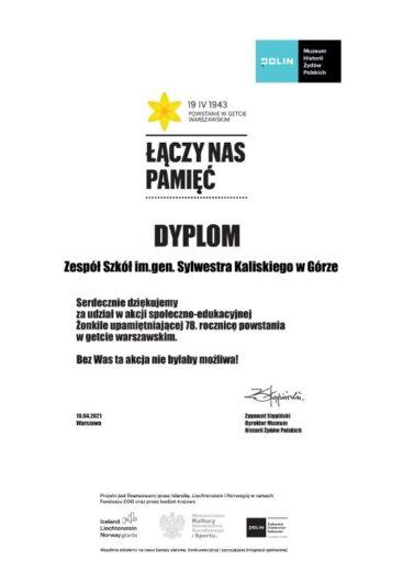 """Dyplom dla Zespołu Szkół w Górze za udział w akcji """"Żonkile""""."""