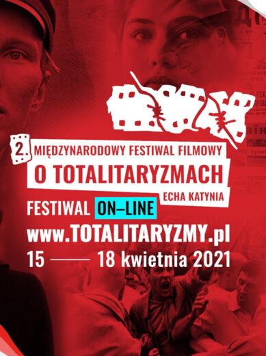 """Grafika promująca II Międzynarodowy Festiwal Filmowy o Totalitaryzmach """"Echa Katynia""""."""